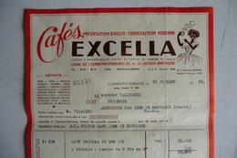(040) FACTURES DOCUMENTS COMMERCIAUX. 63 PUY DE DOME CLERMONT FERRAND. Cafés EXCELLA. 1951. - Food