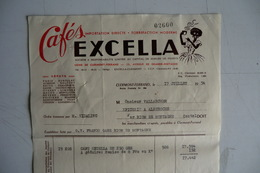 (045) FACTURES DOCUMENTS COMMERCIAUX. 63 PUY DE DOME CLERMONT FERRAND. Cafés EXCELLA. 1954. - Food