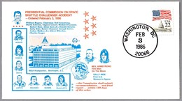 ORDERED PRESIDENTIAL COMMISION ON SPACE SHUTTLE CHALLENGER ACCIDENT. Washington DC 1986 - FDC & Conmemorativos