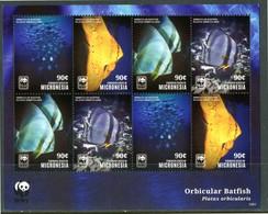 """MICRONESIA 2014** - Pesci / Fish - """"Orbicular Batfish"""" - WWF- Block Di 8 Val. MNH, Come Da Scansione. - Poissons"""