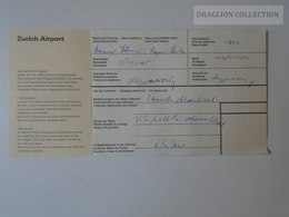 ZA101.6  Airplane -  Airline  - ZÜRICH Airport - Disembarkation Card - To Canada Montreal - Transportation Tickets