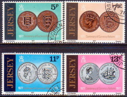 JERSEY 1977 SG #171-74 Compl.set Used Centenary Of Currency Reform - Jersey