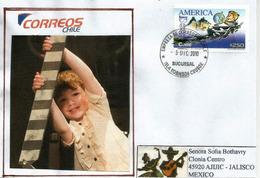 UPAEP (Enfant Jouant) CHILI., Poste De ISLA ROBINSON CRUSOE,  Adressée Au Mexique (RARE) - Chile