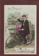 Cpa - Carte - UN BONJOUR DE SAINT DIE . EN VELO  - Carte écrite - Voir Les 2 Scannes - Cyclisme