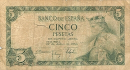BILLET   ESPAGNE 1954   CINCO PESETAS - [ 3] 1936-1975 : Regency Of Franco