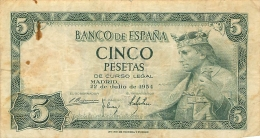 BILLET   ESPAGNE 1954   CINCO PESETAS - 5 Pesetas