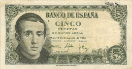 BILLET   ESPAGNE 1951   CINCO PESETAS - [ 3] 1936-1975 : Regency Of Franco