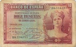 BILLET   ESPAGNE 1935  10 PESETAS - [ 2] 1931-1936 : République