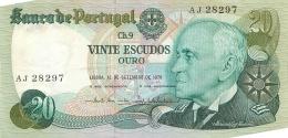 BILLET   PORTUGAL  1978  VINTE ESCUDOS - Portugal