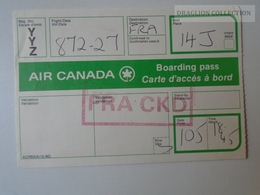 ZA101.12  Airplane -  Airline  - Air Canada -Boarding Pass Flight  872-27  France CKD - Titres De Transport