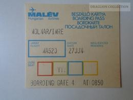 ZA101.13  Airplane -  Airline  - MALÉV  Boarding Card - Transportation Tickets