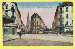 * Antwerpen - Anvers - Antwerp * (J.B.V. Anvers 13303, Nr 20) Coin Rue Nationale, Tram, Vicinal, Couleur, Animée - Antwerpen