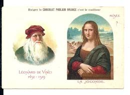 """Chromos Chocolat Poulain Orange Série Peintres Célèbres """"Musée ? Léonard De Vinci La Joconde"""" N°22 - Poulain"""