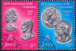 JERSEY 1978 SG #195-96 Compl.set Used 25th Anniv Of Coronation - Jersey