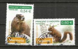 La Marmotte & L'écureil Roux.  Deux Timbres Oblitérés  1 ère Qualité - Gebraucht