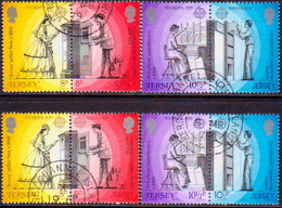 JERSEY 1979 SG #204-07,204a-07a Two Compl.sets Used In Horiz.pairs With Both Perforations Europa - Jersey