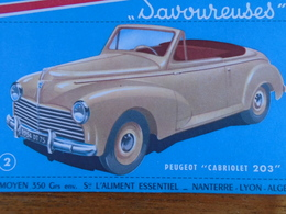 AUTOMOBILE / PEUGEOT CABRIOLET  203 N° 2 / BISCOTTES HEUDEBERT - Blotters