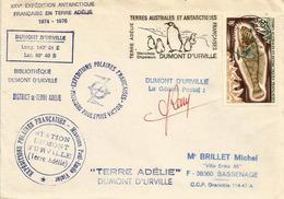 TAAF. Premier Jour De La Flamme Manchots Empereurs. Base Dumont D'Urville,  24 Fevrier 1975, Lettre Signée Gérant Postal - French Southern And Antarctic Territories (TAAF)