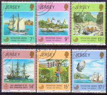 """JERSEY 1980 SG #238-43 Compl.set Used """"Operation Drake"""" - Jersey"""