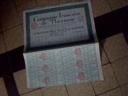 Action Obligation Cie   Francaise De Placements Action  De 1000 Francs Au Porteur Annee 1928 - Shareholdings