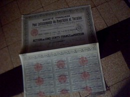 Action Obligation  Societe  Francaise Pour  Lotissements De  Proprietes  Et Terrains   Actions De 500  Francs   1928 - Shareholdings