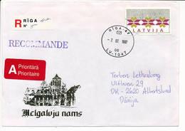 32 S ATM Solo Registered Cover / Klüssendorf - 7 July 1997 Riga-47 To Denmark - Latvia