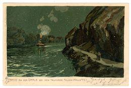 """""""Trothaer Felsen"""" Partie An Der Saale Künstlerkarte 1902 Nach Chemnitz - Halle (Saale)"""