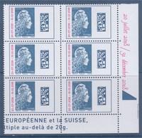 =Marianne L'Engagée 2018 Europe Bloc De 6 Surchargée Coin Neuf Type Gommé Dans Marge: 20 Juillet 2018 / 30 Décembre 2018 - 2018-... Marianne L'Engagée