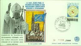 Pape Jean-Paul II  En Visite Aux Institutions Européennes  Conseil De L'Europe -8 Octobre 1988 - Europa-CEPT