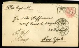 HANDGESCHREVEN *  Carte Postale * AUSTRIA * ÖSTERREICH AUTRICHE Uit 1886 Van STETTIN Via AACHEN Naar NEW YORK (11.446u) - Stamped Stationery