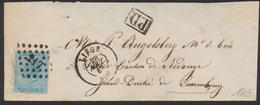 émission 1865 - N°18 Sur Enveloppe-lettre Obl Pt217 çàd Liège 28/8/1867 Vers Le Canton De Redange (Gd Du Luxembourg) - 1865-1866 Profil Gauche