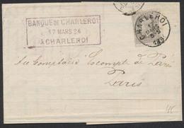 """émission 1869 - N°35 Sur LAC Obl Simple Cercle """"Charleroi"""" 17/3/1884 Vers Paris + Encadré """"Banque De Charleroi"""" - 1869-1883 Leopoldo II"""