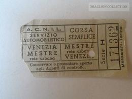 ZA101.18 VENEZIA - ACNIL Servizio Automobilistico VENEZIA- MESTRE -  CORSA SEMPLICE Ca 1960's - Tram