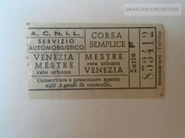 ZA101.19 VENEZIA - ACNIL Servizio Automobilistico VENEZIA- MESTRE -  CORSA SEMPLICE Ca 1960's - Tram