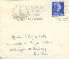 Petite Enveloppe 100 Mm X  85 Mm  Oblitération Mécanique STRASBOURG Siège Du Conseil De L'Europe  31  Mars 1957 - 1966
