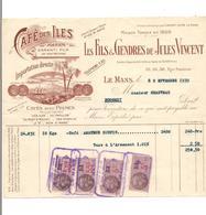 FACTURE  CAFE DES ILES -  JULES VINCENT LE MANS - 1939 - - Food