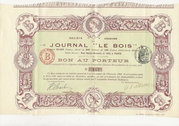 "SOCIETE ANONYME  JOURNAL "" LE BOIS (250 ACTIONS) -1908 - Shareholdings"