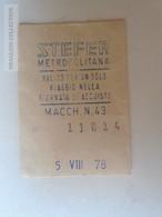 ZA101.20  ITALIA  - BIGLIETTO METROPOLITANA STEFFER - UN VIAGGIO - 1960's - Bus