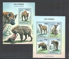 SS037 2014 IVORY COAST FAUNA ANIMALS WILD DOGS HYENS KB+BL MNH - Altri