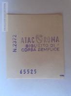ZA101.21  ITALIA  - BIGLIETTO Di Corsa Semplice ATAC ROMA   - 1960's - Bus