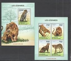 SS041 2014 IVORY COAST FAUNA ANIMALS WILD CATS LEOPARDS KB+BL MNH - Felini