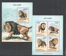 SS042  2014 IVORY COAST FAUNA ANIMALS WILD CATS LIONS KB+BL MNH - Felini
