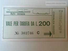 ZA101.24  ITALIA  -  BIGLIETTO TRAGHETTO ACTV VENEZIA VENICE BUS TICKET LIRE 200 - Bus