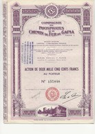 ACTION DE 2500 FRS -COMPAGNIE DES PHOSPHATES ET DU CHEMIN DE FER DE GAFSA -TUNISIE -  1950 - Chemin De Fer & Tramway