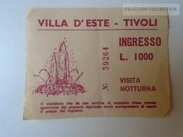 ZA101.28  ITALIA  -  Villa D'Este -TIVOLI - Ingresso L.1000  1979 - Tickets D'entrée