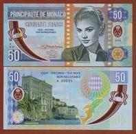 MONACO 50 Francs 2018 Polymer UNC. Grace Kelly. Private Essay. Specimen. - Banknotes