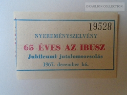 ZA101.31   Hungary IBUSZ GUTSCHEIN  COUPON 1967 - Tickets D'entrée