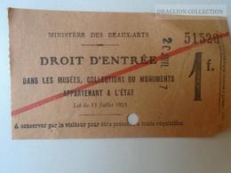 ZA101.34  LOUVRE Droit D'Entree 1925 Museum Musee Ministere De Beaux-Arts History Entrada Ticket France - Tickets D'entrée