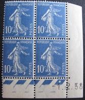 R1680/116 - 1938 - TYPE SEMEUSE (BLOC) N°279 TIMBRES NEUFS** CdF Daté (Traces De Plusieurs Charnières Sur BdF) - 1930-1939
