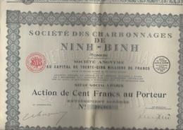 SOCIETE DES CHARBONNAGES DE NINH-BINH - LOT DE 10 ACTIONS DE 100 FRS -1927 - Mines